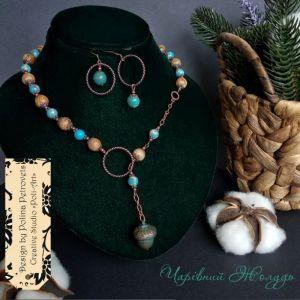 """Poli-Art Комплект ожерелье и серьги из яшмы и варисцита """"Волшебный желудь"""""""
