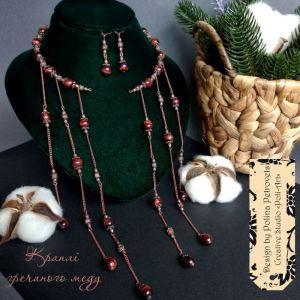 """Poli-Art Комплект ожерелье и серьги из бычьего глаза и кварца """"Капли гречневого меда"""""""