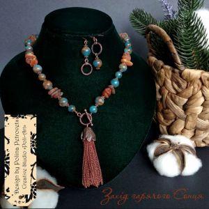 """Poli-Art Комплект ожерелье и серьги из янтаря, агата и золотого песка """"Закат горячего Солнца"""""""