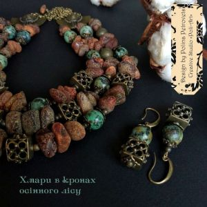 """Комплекты Комплект ожерелье, браслет и серьги из янтаря и африканской бирюзы """"Облака в кроне осеннего леса"""""""