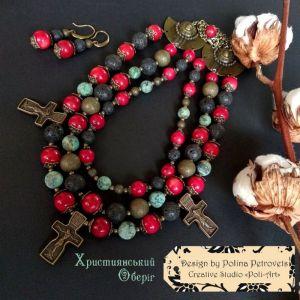 "Комплекты Комплект ожерелье и серьги из коралла, лавы и бирюзы ""Християнский оберег"""