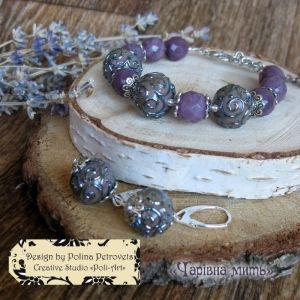"""Poli-Art Комплект браслет і сережки з кварцу і лемпворку """"Чарівна мить"""""""