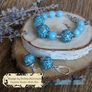"""Poli-Art Комплект браслет і сережки з аквамарином і лемпворком """"Плескіт хвилі"""""""
