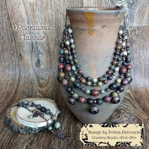 "Poli-Art Комплект намисто і браслет з яшми ""Розкішна панна"""