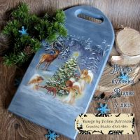 """Кухонная доска """"Рождество в лесу"""""""