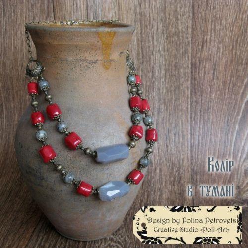 """Ожерелье с кораллом, лабрадором и агатом """"Цвет в тумане"""""""