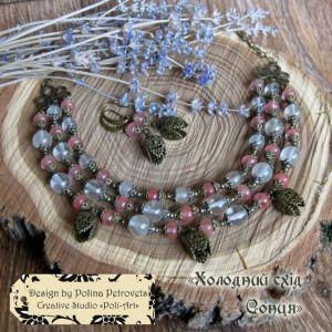 """Poli-Art Комплект намисто і сережки з кварцу, халцедону """"Холодний схід Сонця"""""""