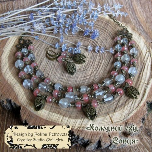 """Комплект ожерелье и серьги с кварца, халцедона """"Холодный восход Солнца"""""""