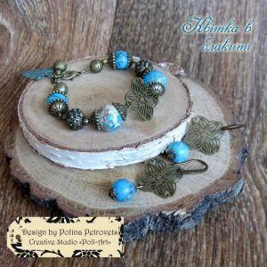 """Блакитний браслет Браслет з сережками з варисциту """"Квітка в блакиті"""""""