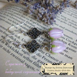 "Poli-Art Сережки с лэмпворка и серебра ""Сережки с бабушкиной шкатулки"""