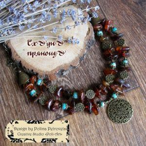 """Ожерелье из варисцита Бусы с янтаря и варисцита """"Восточные пряности"""""""