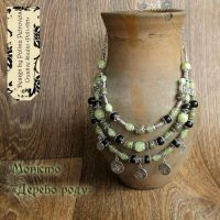 "Ожерелье из оникса, зеленого лазурита, шунгита ""Дерево Рода"""