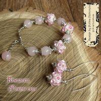 """Комплект браслет и серьги с лэмпворк и розового кварца """"Розовые сны"""""""