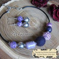 """Комплект намисто та сережки з вовни та кераміки """"У вирії мрій"""""""