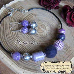 """Poli-Art Комплект намисто та сережки з вовни та кераміки """"У вирії мрій"""""""