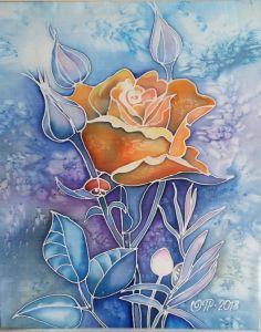 Нарисованные картины Роза в саду