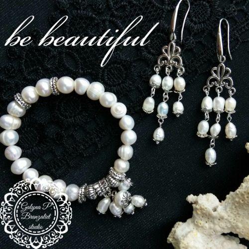 """Комплект браслет і сережки """"Будь прекрасна"""""""