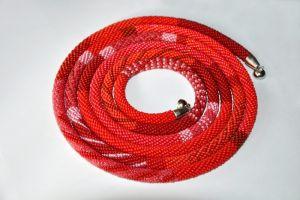 Плотницькая Елена Красный жгут-трансформер из бисера