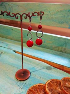 Серьги с кораллом Красные маки