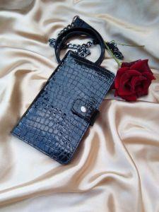 Кошельки ручной работы Женский кошелек из натуральной кожи под крокодила (черный)