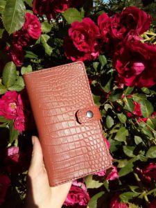 Кошельки ручной работы Женский кожаный кошелек под крокодила (коричневый)