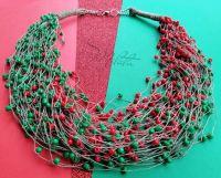 """Льняное ожерелье """"Калина зелёная"""""""