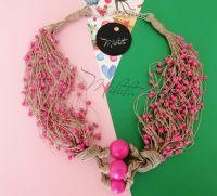 """Льняное ожерелье """"Розовый фламинго"""""""