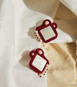 Серьги ручной работы Сутажные серьги с жемчугом