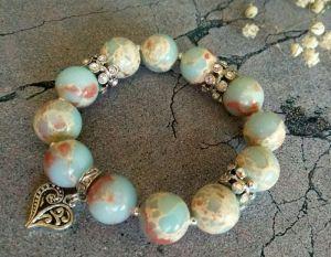 Блакитний браслет Браслет з натурального каменю зі стразами