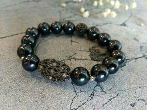 Браслет з чорними перлами Браслет з чорних перлів на подарунок