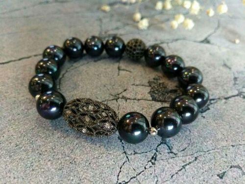Браслет з чорних перлів на подарунок