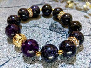 """Чорний браслет Браслет """"Чумацький шлях"""" з натуральних каменів. Подарунок дівчині."""