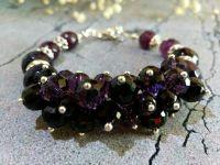 """Женский браслет """"Ночная фиалка"""" из натуральных камней. Подарок."""
