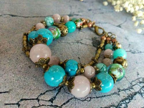 """Женский трехрядный браслет """"Краски Индии"""" из натуральных камней"""