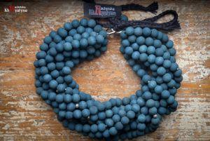 Ожерелье из дерева Деревянное синее