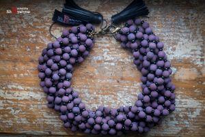 Ожерелье из дерева Деревянное фиолетовое с бисером