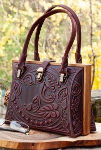 Вечерние женские сумки Авторский кожаный саквояж темно-бордовый
