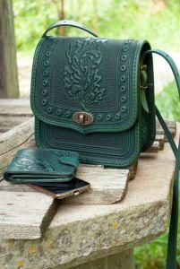 Женские сумки ручной работы Темно-зеленая кожаная сумка через плечо с тиснением