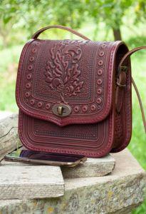 Женские сумки ручной работы Темно-бордовая кожаная сумка через плечо с тиснением