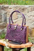 Авторский кожаный саквояж фиолетовый