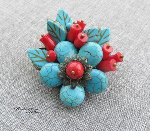 """Прикраси ручної роботи """"Бірюзова квіточка"""""""