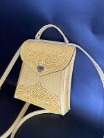 """Рюкзак-сумка из натуральной кожи """"Вектор"""" ручная работа жовтий"""