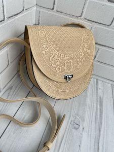 Повседневные женские сумки Кожаная сумка, сумка через плечо, женская кожаная сумка, идея для к подарку «Мальва» светло-бежевая