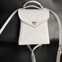 """Рюкзак-сумка из натуральной кожи """"Вектор"""" ручная работа белий"""