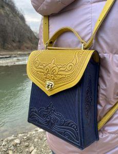 """Рюкзак ручной работы Рюкзак-сумка натуральная кожа ручная работа """"Вектор"""" подарок для нее, сине-желтый рюкзак, сумка через плечо, кожаный рюкзак ручная работа"""