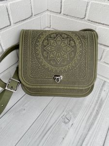 """Повседневные женские сумки Кожаная сумка через плечо, натуральная кожа, сумка """"Солнце Карпат"""" оливка"""