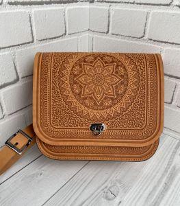 """Повседневные женские сумки Кожаная сумка через плечо, наплечная сумка """"Солнце Карпат"""" рыжая"""
