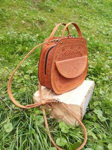 """Повседневные женские сумки Женская сумка из натуральной кожи """"Азалия"""" рыжая большая"""