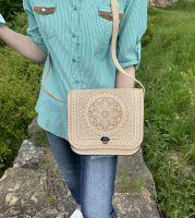 """Кожаная сумка, натуральная кожа, сумочка ручной работы, сумка кожаная через плечо """"Солнце Карпат"""" слоновая кость"""