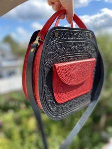 Женские сумки ручной работы Кожаная сумка, сумочка черная-красная, сумка через плечо, кожаная сумка с ручками, подарок